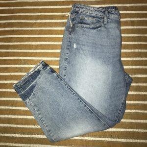 Distressed high rise straight leg jeans